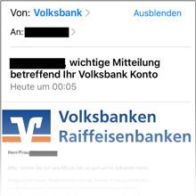 Phishing-Warnung Mitteilung Volksbank Konto